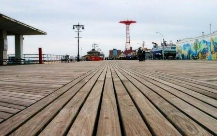 Cumaru decking weathering on Coney Island boardwalk after Super Storm Sandy