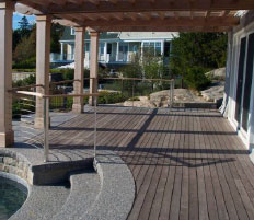 Ipe hardwood deck and gazebo naturally weathering