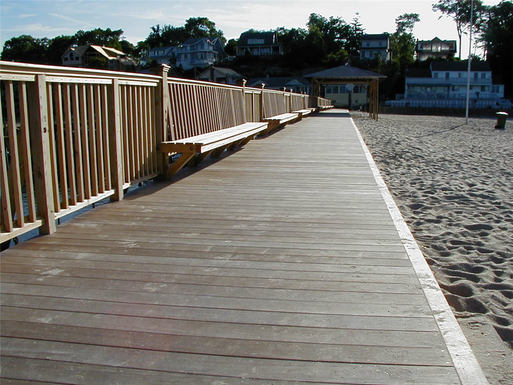 Ipe decking on boardwalk and benches