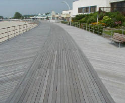 weathered Ipe decking on boardwalk