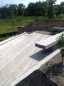 Ipe hardwood decking and benches weathering beautifully