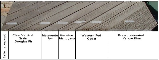 15 Year test of Ipe decking to other wood decking options