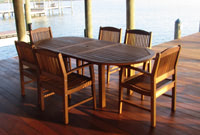 Ipe outdoor dining table and Ipe chairs on Ipe dock