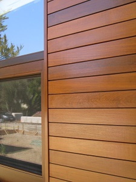 climate shield rain screen with Ipe hardwood siding window detail