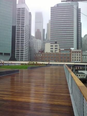 cumaru decking and cumaru railing at Pier 15 esplanade in New York City