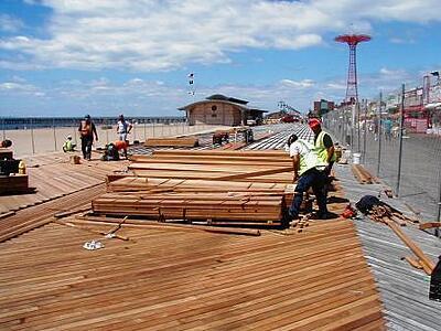 Cumaru FSC marine decking used on Coney Island boardwalk