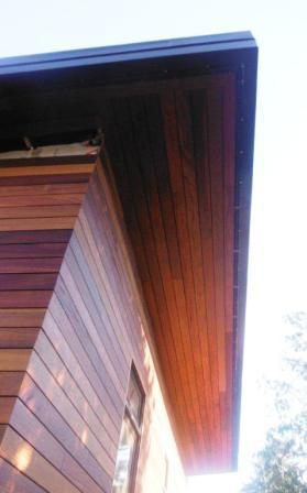 Cumaru rainscreen siding and soffits