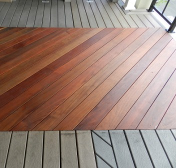 machiche hardwood decking side by side with synthetic composite decking
