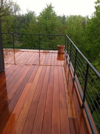 Garapa decking with custom railing system