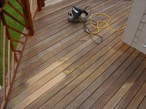 Ipe deck after a light sanding