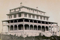 original historic hotel with wide wood verandas