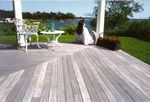 beautiful Ipe deck aging gracefully to a silvery patina