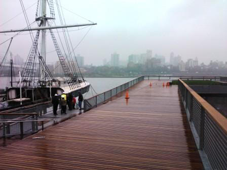 Cumaru marine decking on ramps and walkway Pier 15 esplanade New York City