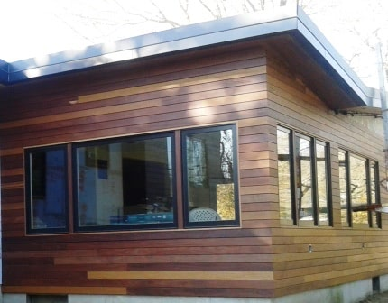 Cumaru rainscreen wood siding