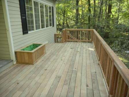 Garapa wood deck railing and planters
