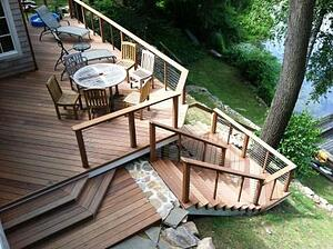 Cable rail system great option for a beautiful ipe deck for Other names for balcony