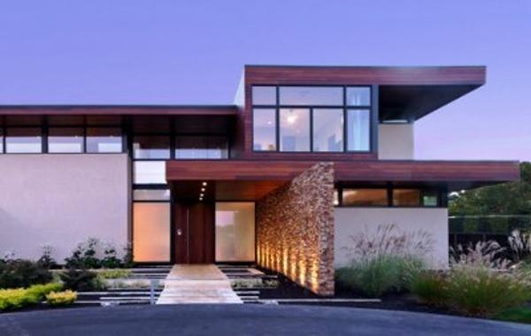 FSC Machiche hardwood wood rain screen with stone and stucco design elements