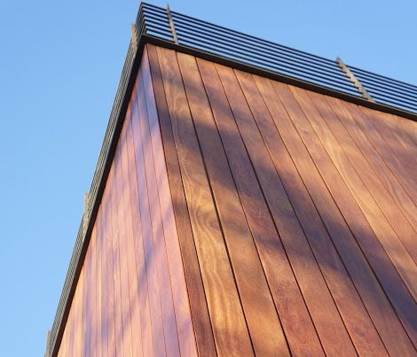 Red Cumaru hardwood rain screen siding