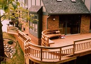 Ipe deck with curved architectural railings