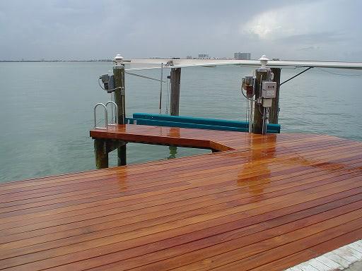 Cumaru hardwood decking on dock in Florida