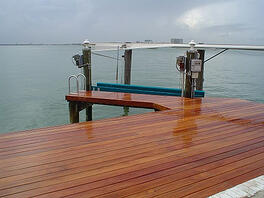 Cumaru hardwood marine decking on dock in Florida