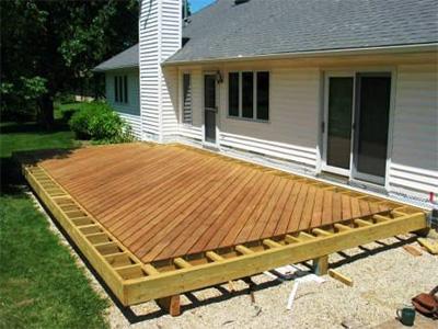 ipe hardwood deck under construction