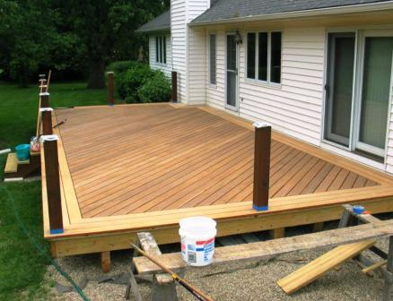 Garapa deck boards were installed for a picture frame on the deck