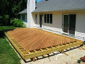 Ipe deck boards were trimmed to fit inside the picture frame