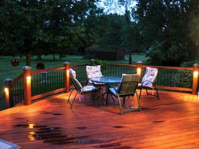 Ipe and garapa deck at night