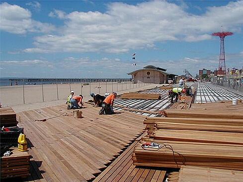 Coney island baoardwalk with FSC Cumaru hardwood decking and sleepersmaru_2x4s