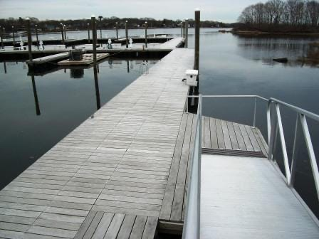 Garapa_Decking_weathering_to_a_silvery_patina_on_a_dock_in_Rhode_Island