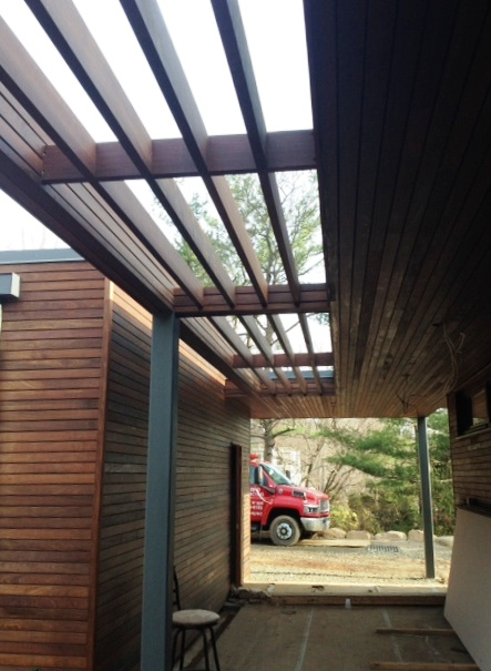 Ipe rain screen and pergola in upstate New York
