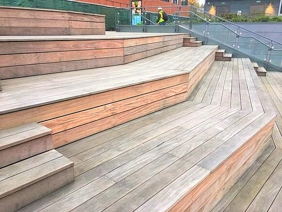 Amphitheater hardwood steps on rooftop deck