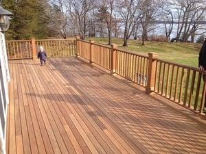 Mataverde Ipe deck and custom Ipe railings in Maine