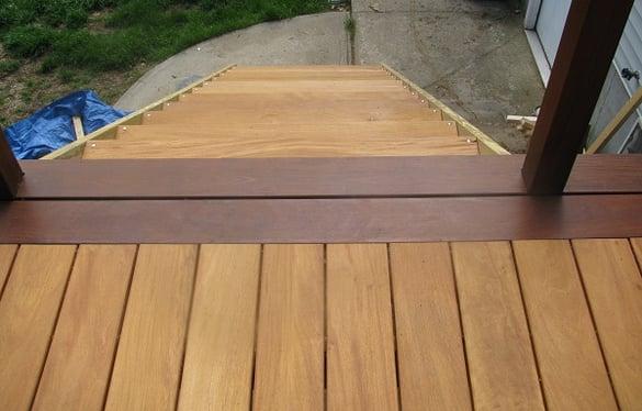 Basic hardwood deck picture frame with Garapa decking and Ipe decking border