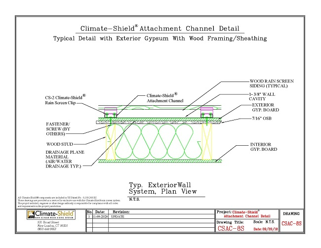CSAC-8S Attachment Channel over Exterior Gypsum and Steel Stud  11-09-20