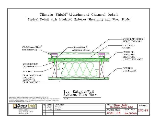 CSAC-8W Attachment Channel over Rigid Insulation and Wood Stud 11-09-20