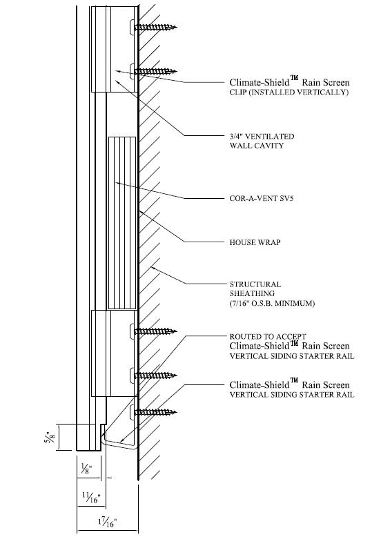 climate shield rain screen siding 8 in vertical starter rail