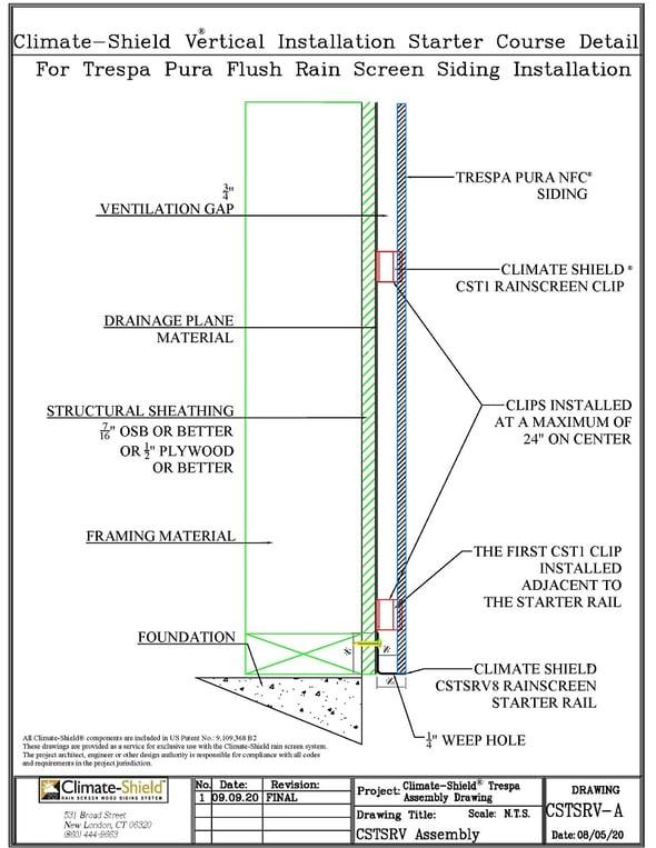 CSTSRV-A Trespa vertical wall assembly at starter rail 9-9-20