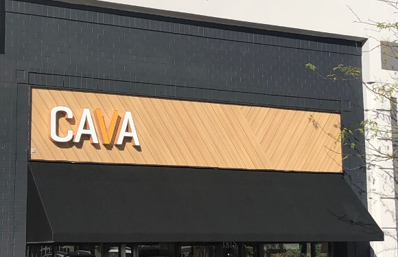 Cava Grill uses Trespa Pura siding as accent on exterior facade