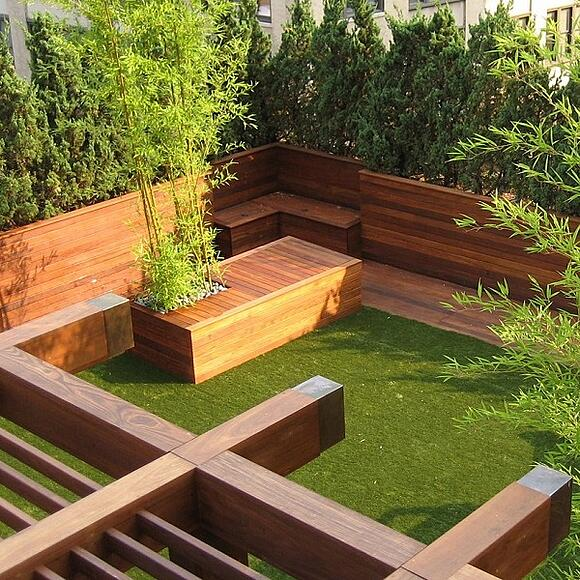 Urban deck with Ipe benches and planter boxes