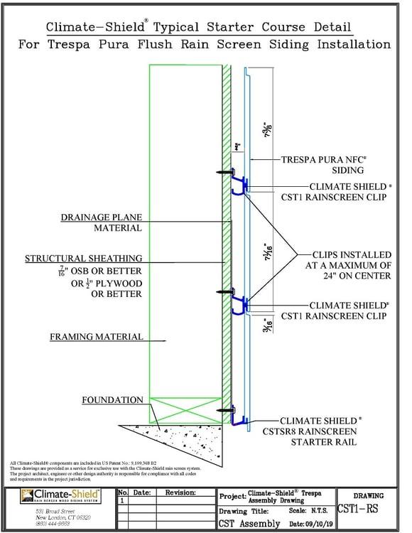 Climate-Shield Trespa CST1 Clip and rainscreen starter rail details