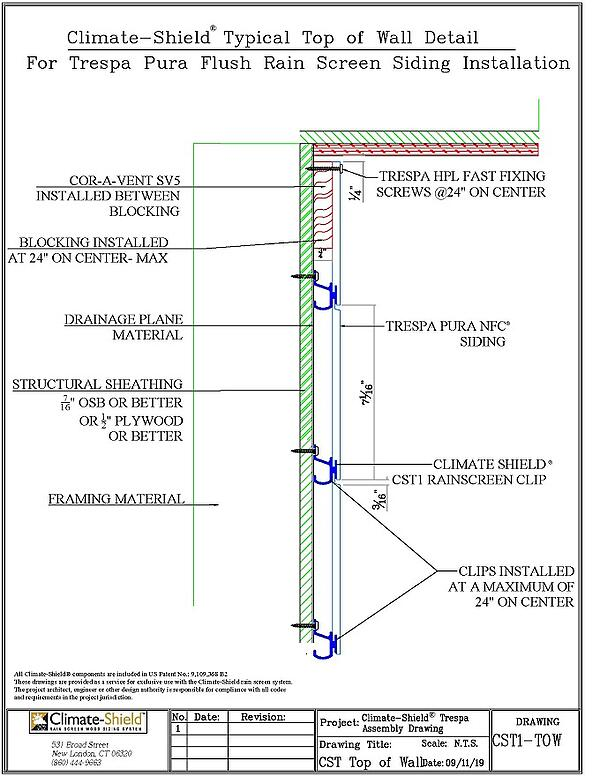 Climate-Shield Trespa Top of Wall Assembly details