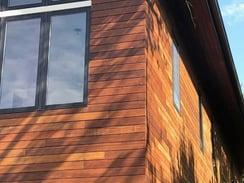 Closeup of Ipe rain screen horizontal outside corners