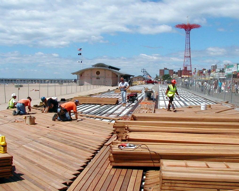 Coney Island boardwalk installation with Cumaru hardwood decking