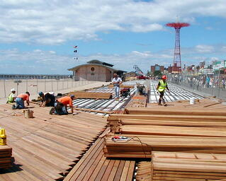 Cumaru hardwood decking on Coney Island boardwalk
