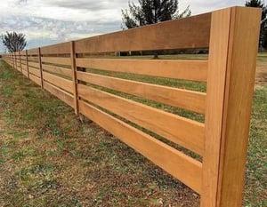 Corral style fence made with Garapa hardwood rails-1