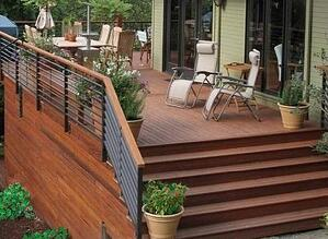 Cumaru hardwood backyard deck with stairs and railing
