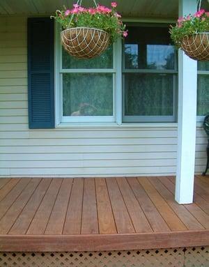 Cumaru hardwood decking on front porch