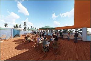 Cumaru hardwood rooftop deck architectural rendering-3